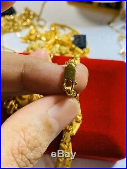 22K Fine 916 Yellow Gold Baht Womens Necklace With 19 Long USA Seller 4mm