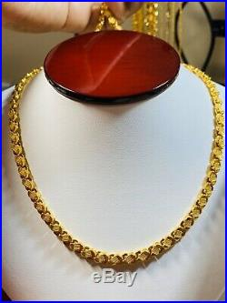 22K Fine 916 Yellow Gold Mens Damascus Necklace With 22 Long 5mm USA Seller