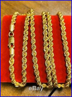 22K Fine 916 Yellow Gold Mens Rope Necklace With 24 Long 4mm USA Seller