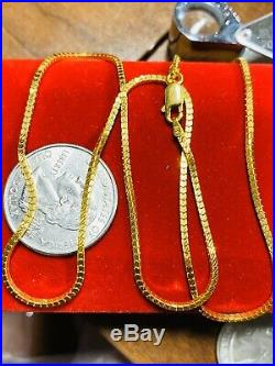 22K Fine 916 Yellow Gold Womens Box Chain Necklace With 18 Long 1.6mm USA Seller