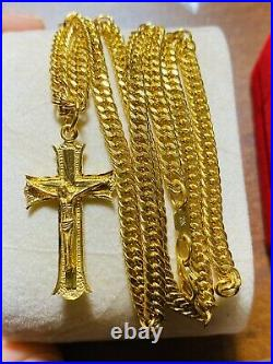 22K Fine 916 Yellow Gold Womens Cross Necklace With 20 Long 14.3g 4mm FastShip