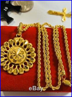22K Fine 916 Yellow Gold Womens Rope Set Necklace With 18Long 2.5mm USA Seller