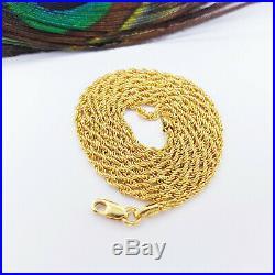 22K Genuine Gold Chain Rope Necklace 15.8 Hallmark 916 LIGHT WEIGHT 1.7mm Thick