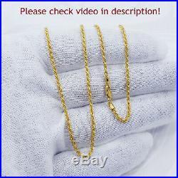 22K Genuine Gold Chain Rope Necklace 20 Hallmarked 916 LIGHT WEIGHT 1.75mm Thin