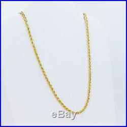 22K Genuine Gold Chain Rope Necklace 20 Hallmarked 916 LIGHT WEIGHT 1.76mm Thin