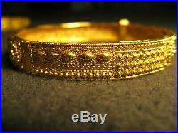 22K Gold Ornate Filigree Bangle pair, 2-1/4 Bracelet 41 grams