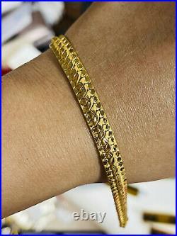 22K Pure Saudi Gold Fine 916 Womens Cobra Bracelet SM/MED 7 long 8mm 10.22g