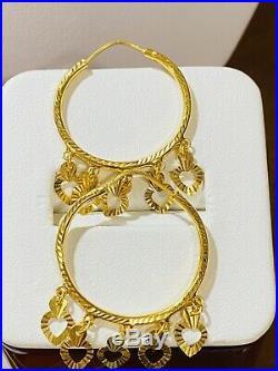 22K Saudi Gold 916 Womens Dangle Hoops Set Earring USA Seller 3.66g Fast-Ship