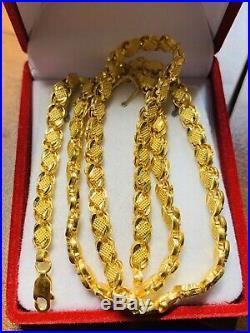 22K Saudi Gold Damascus Necklace With 18 Long