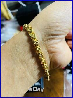22K Saudi Gold Fine Unisex Bracelet 7.75 Long
