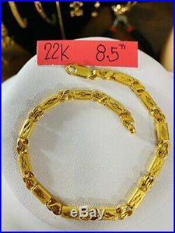 22K Saudi Gold Mens Baht Bracelet 8.5 Long 5mm Fits