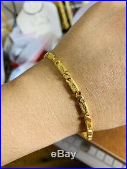 22K Saudi Gold Mens Bracelet 9 Long