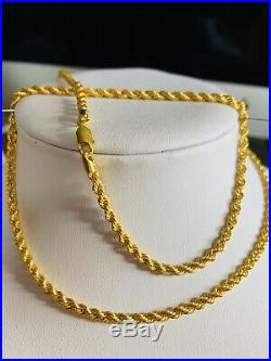 22K Saudi Gold Rope Chain Necklace With 24 Long