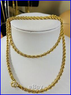 22K Saudi Gold Rope Mens Chain Necklace With 24 Long