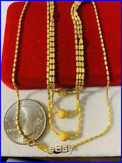 22K Saudi Gold Triple Layer Necklace With 16 Long