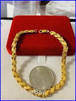 22K Saudi Gold Unisex Bracelet 7.75