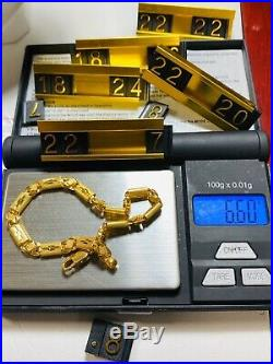22K Saudi Gold Womens Baht Bracelet 7 Long 5mm Fits Sm/med