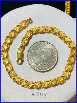 22K Saudi Gold Womens Damascus Bracelet 7.2 Long 5mm Fits Sm/med