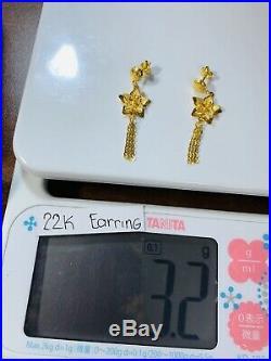 22K Saudi Gold Womens Dangle Earring