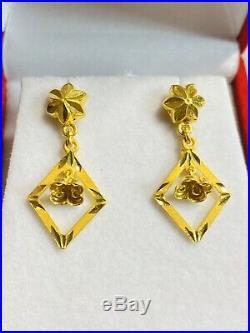 22K Saudi YELLOW Gold 916 Womens Dangle Set Earring FREESHIP USA Seller 3.5G