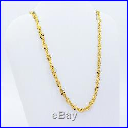 22K Solid Gold Chain Necklace 18.25 Singapore Lobster Claw Clasp Hallmarked 916
