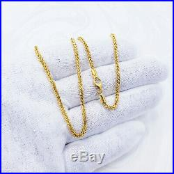 22K Solid Gold Chain Necklace 19.75 Wheat 2mm Thick Hallmarked 916 HIGH QUALITY