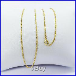 22K Solid Gold Chain Necklace Singapore 15.75 Choker Thin 1.18mm Light 1.26gm
