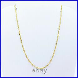 22K Solid Gold Chain Necklace Singapore 15.75 Choker Thin 1.18mm Light 1.28gm