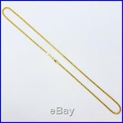 22K Solid Yellow Gold Chain Necklace 18.25 Bead Cable combo flat Hallmarked 916