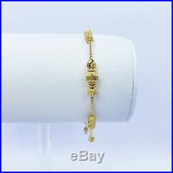 22K Solid Yellow Gold Female Bolo Bracelet 5 to 8 Slider Clasp Hallmarked 916