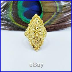 22K Solid Yellow Gold RING US 6.5 Women Genuine Hallmarked 22KT 916 Handcrafted