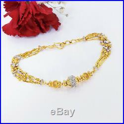 22K Solid Yellow White Gold Women Bracelet 6.75-7.25 Hook Clasp Hallmarked 916