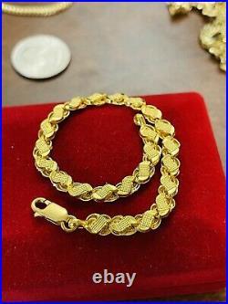 22K Yellow Fine Saudi UAE Gold 916 Womens 6 long Damascus Bracelet 6mm 4.0g