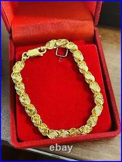 22K Yellow Fine Saudi UAE Gold 916 Womens 6 long Damascus Bracelet 6mm 4.42g