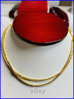 22K Yellow Gold 916 Womens Chain Necklace With 22 Long 1.6mm USA Seller