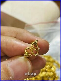 22K Yellow Gold 916 Womens Damascus Necklace With 16 Long 5mm Wide 9.8g