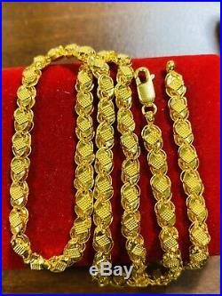 22K Yellow Gold 916 Womens Size Damascus Chain Necklace With 20 Long 5mm 11g