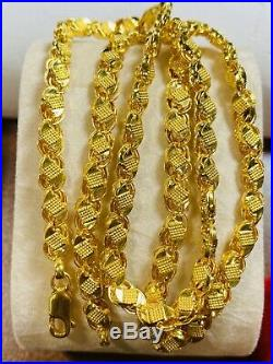 22K Yellow Gold 916 Womens Size Damascus Chain Necklace With 20 Long 5mm 14.2g