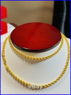 22K Yellow Gold 916 Womens Size Rope Chain Necklace With 20 Long 3mm 5.5g