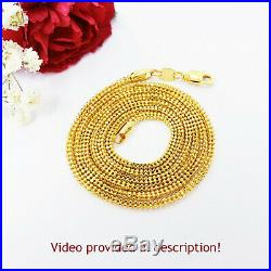 22K Yellow Gold Chain Necklace 24.5 inch Hollow Beaded Hallmarked 916 GOLDSHINE
