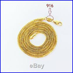 22K Yellow Gold Chain Necklace 24 inch Hollow Beaded Hallmarked 916 GOLDSHINE