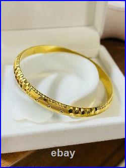 22K Yellow Gold Fine 916 Womens Bracelet Bangle SM/MED Fits 6-7 8.11g 7mm Wide