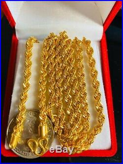 22K Yellow Gold Mens Rope Necklace With 24 Long 4mm USA Seller
