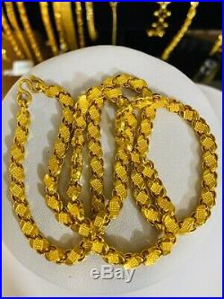22K Yellow Gold Mens Womens Damascus Necklace With 22 Long 5mm USA Seller