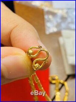 22K Yellow Gold Womens Baht Necklace With 18 Long 4mm USA Seller