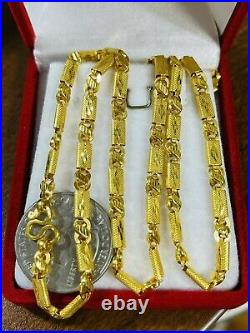 22K Yellow Real Saudi Gold 916 Mens Baht Necklace With 24 Long 4mm Wide 11.84g
