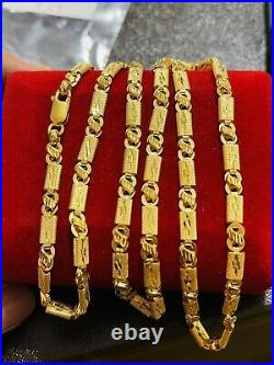 22K Yellow Real Saudi Gold 916 Mens Baht Necklace With 24 Long 4mm Wide 13.44g
