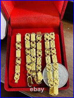 22K Yellow Real Saudi Gold 916 Mens Baht Necklace With 24 Long 5mm Wide 13.07g