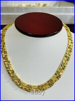 22K Yellow Real Saudi Gold 916 Mens Baht Necklace With 26 Long 4mm Wide 13.62g