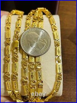 22K Yellow Real Saudi Gold 916 Mens Baht Necklace With 26 Long 5mm Wide 15.3g